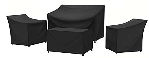 SIRUITON PATIO 가구 세트 420D 헤비 듀티 4 피스 야외 베란다 안뜰 정원 가구 내구성 및 방수 직물 (블랙) 세트
