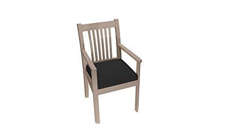 Stuhlkissen Stuhlauflage Stuhlpolster Sitzkissen Abnembar Bezug Mit Reißverschluss Auflage Gartenkissen Set (45x45x5, Schwarz)