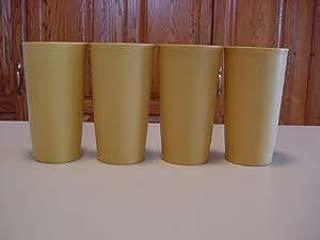 Vintage Tupperware Gold 12 oz Weight Bottom Tumblers x4