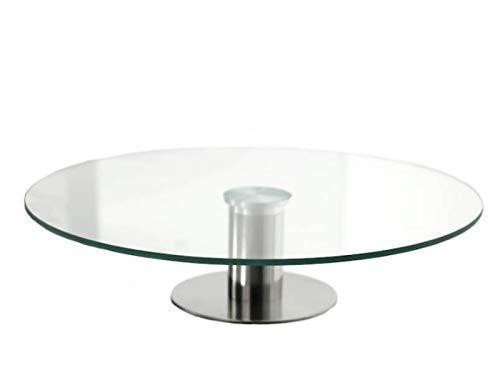 meindekoartikel Drehbare Servierplatte aus Glas mit Fuss Tortenständer, Kuchen-, Torten,- Käse,- Wurst- oder Obstplatte Ø 30cm x H 7cm