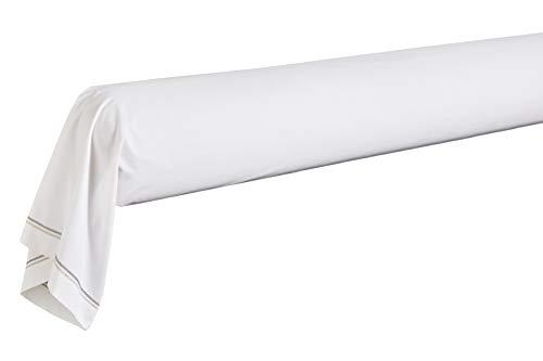 Blanc des Vosges Taie de traversin Souvenir Ardoise 190 cm - Percale 100% coton 80fils/cm²
