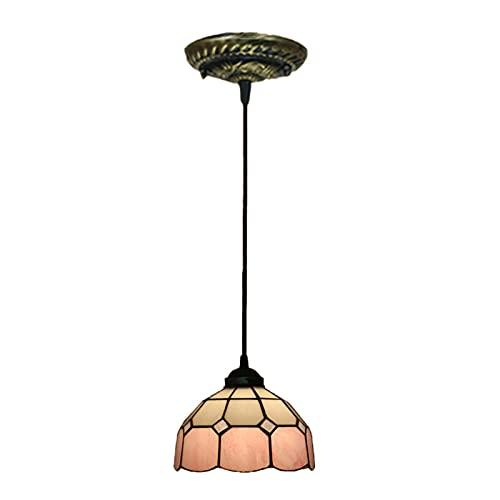 Lámpara colgante mediterránea con vitrales, mini accesorio de iluminación colgante de techo estilo Tiffany de 8 pulgadas para cabecera, balcón, hotel, bar, 40W,Pink