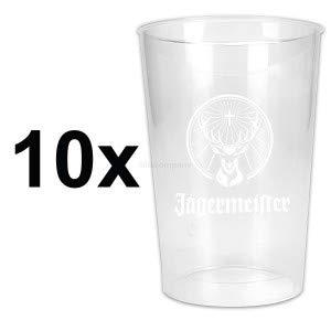 Jägermeister Plastikbecher Becher Partybecher Set - 10x Becher 2/4cl geeicht