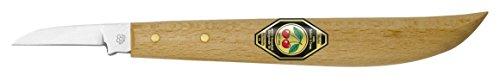 Kirschen 3358000 Kerbschnitzmesser / Schnitzmesser ; Messer mit rundem Rücken und gerader Schneide aus speziellem Kohlenstoffstahl, Weißbuchenheft ; Härte: 59 - 61 HRc