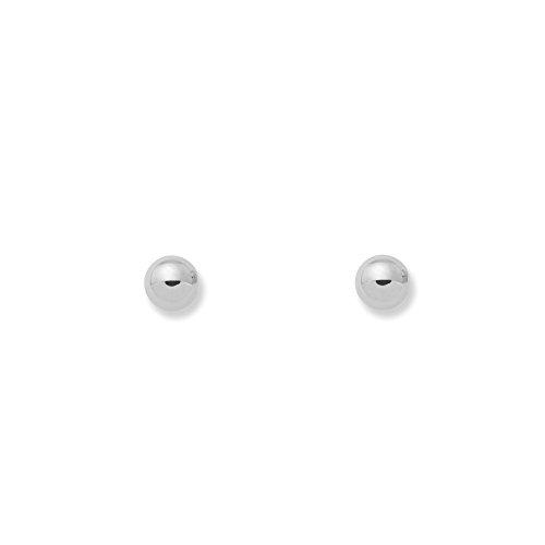 Monde Petit T1788P - Pendientes de bebe/niña oro blanco 18 kts. bola lisa 4 mm.