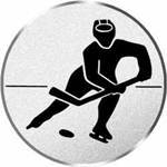 S.B.J - Sportland Pokal/Medaille Emblem, Motiv Eishockey, Durchmesser 50 mm, Silber