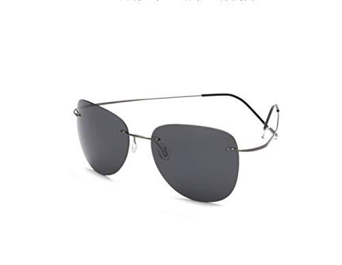 TL-Sunglasses 100% di Titanio Silhouette Occhiali da Sole Super Leggero Uomini Senza Montatura di Occhiali da Sole Polaroid Occhiali polarizzati,Titanio ZP2117 C1