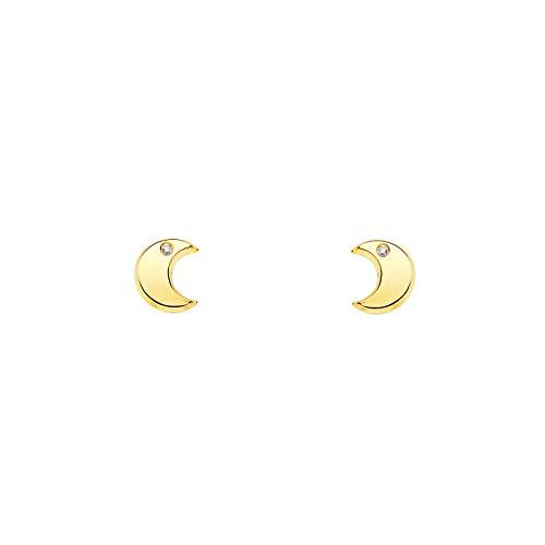 Orecchini per Bambina luna con zircone - oro giallo 9k (375)