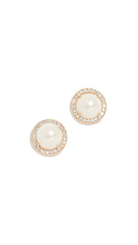 Kate Spade New York Women's Pave Halo Stud Earrings, Cream/Gold, One Size