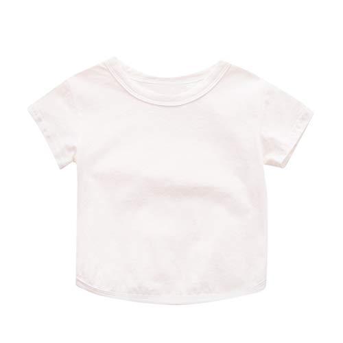 Julhold Kinderen Baby Kids Dagelijkse Vrije tijd Korte Mouw Effen Kleur Katoen Comfortabele T-Shirt Jongens Meisjes Kleding 0-4Jaar