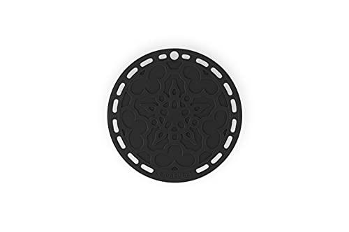 Le Creuset Untersetzer aus Silikon mit Loch zum Aufhängen, Tradition Rund, Durchmesser: 20 cm, Silikon, Schwarz