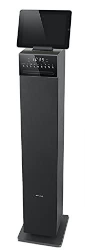 Muse M-1350 BTC Bluetooth Lautsprecher Tower mit integriertem Subwoofer (CD/MP3-Player, FM PLL Radio, Weckfunktion, NFC, Fernbedienung, 120 Watt, Holzgehäuse, USB, AUX-In, Audio-In) schwarz