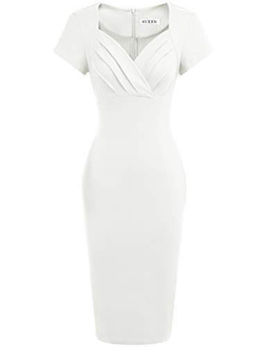 MUXXN Womens Cute Petite Cut Out Neck Cap Sleeves Bridesmaid Wedding Dress (White M)