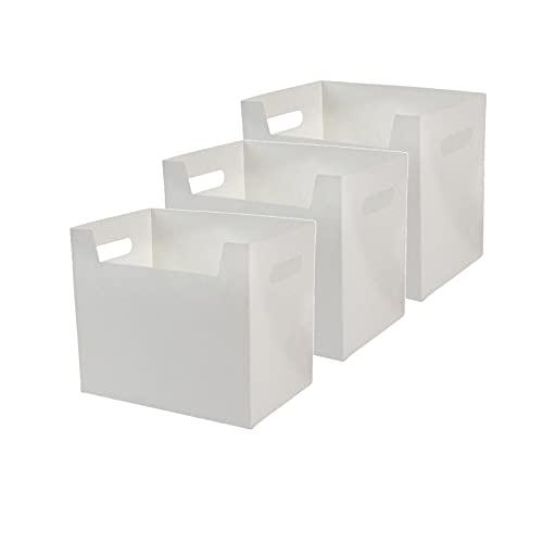HDSFD Caja de almacenamiento plegable impermeable y resistente a la humedad, caja de almacenamiento de ropa moderna y simple, adecuada para oficina, sala de estar, libros, ropa (3 piezas blancas)