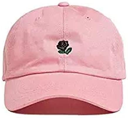 Wendy Wu WENDYWU Unisex Rose Embroidered Adjustable Strapback Dad Hat Baseball Cap