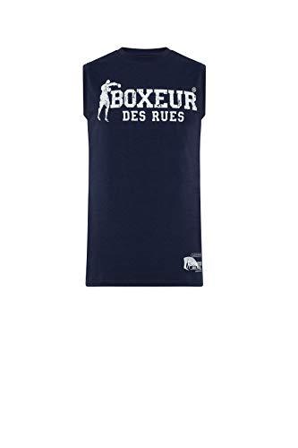 BOXEUR DES RUES - Canotta da Boxe Blu Navy in Tessuto Stretch, Uomo, Blu, L