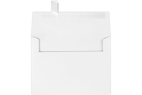 LUXPaper A7 Invitation Envelopes for 5 x 7 Cards in 80 lb. Bright White, Printable Envelopes for Invitations, w/Peel and Press Seal, 50 Pack, Envelope Size 5 1/4 x 7 1/4 (White)
