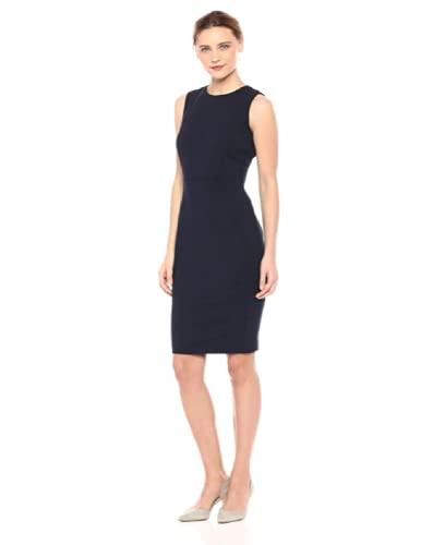 Calvin Klein Women's Scuba Crepe Sleeveless Princess Seam Sheath Dress, Black, 10