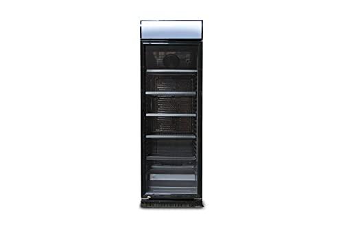 230l Getränkekühlschrank (Flaschenkühlschrank) mit Glastür und Werbedisplay. Abschließbar. Komplett schwarz. Freistehender Getränkekühlschrank.