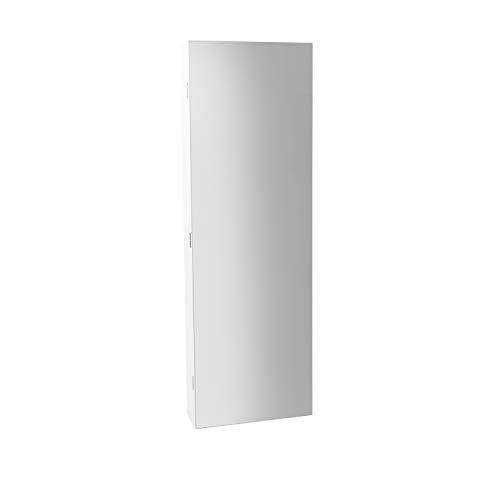 Espejo Joyero con Led, Guardajoyas de Colgar, Armario para Joyas, Acabado en Color Blanco, Medidas: 120 cm (Alto) x 36 cm (Ancho) x 10 cm (Fondo)