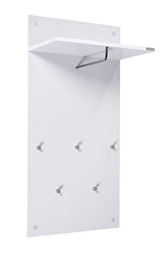 ts-ideen Garderobe Wandgarderobe Flur Diele Paneel Hakenleiste Holz weiß mit 5 Haken, Ablage und einer Stange in 100 x 49 cm