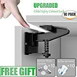 Cabinet Locks Child Safety-Baby Proofing For Kitchen Drawers and cupboard-Easy to Install-No Tools or Drilling Needed-10 Locks and Latches+10 Strong 3M Adhesive Tape+10 Outlet Plug Covers-1st Best Kit