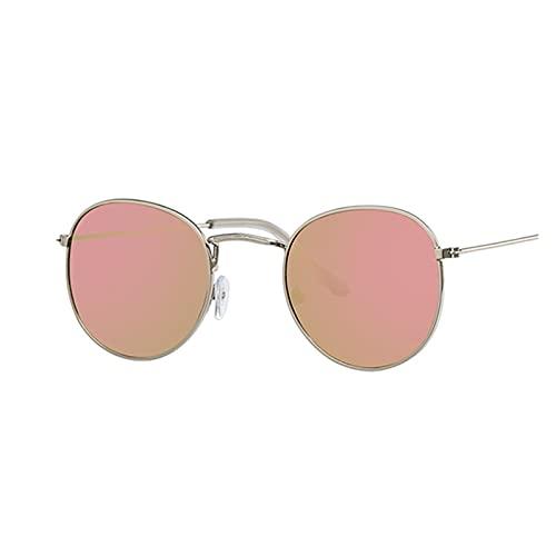 Diseñador de Marca Vintage Oval Gafas de Sol Mujeres Retro Lente Transparente Gafas Redondas Sol Redondas para Mujer Señoras Oculos De Sol Gafas de Sol para Mujer (Lenses Color : Silver Pink)
