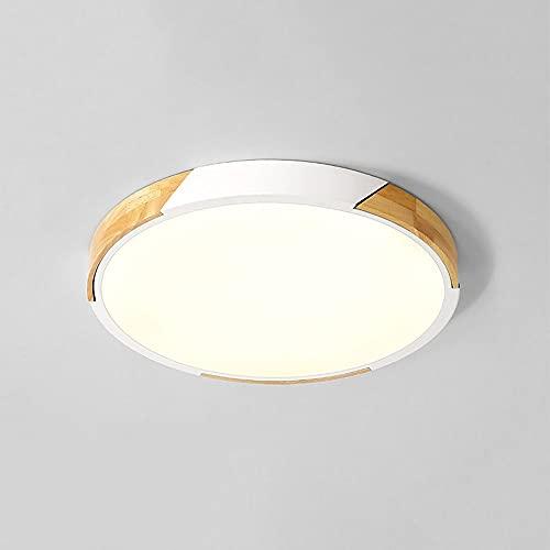 LPFWSK Luz del Techo Delgada de Color macarrón, lámparas Decorativas de Madera de Montaje en Color, Regulables (3000k / 4500k / 6000k) Accesorios de iluminación Redonda