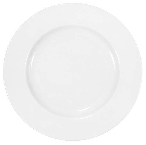 Lot de 12 assiettes plates en porcelaine véritable Ø 240 mm - Blanc - Idéal pour peindre (vaisselle pour la restauration et la maison).
