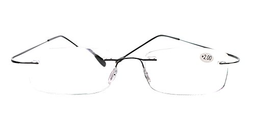 SOOLALA High End Lightweight Titanium Stainless Steel Rimless Reading Glasses, Black, 1.25x