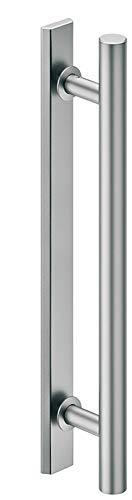 ALPENSTAAL stanggreep kamerdeur trekgreep aluminium stootgreep eenzijdig voor houten & glazen deuren | Design schuifdeurgreep roestvrij staal mat | 400 mm x 300 mm | 1 set - aluminium trekgreep rond voor schuifdeuren (1 set - roestvrijstalen look) modern 1 Set - silber matt Zilver mat geborsteld