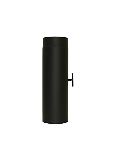 LANZZAS Rauchrohr Ofenrohr Kaminrohr Verlängerung 500 mm mit Drosselklappe Ø 120 mm schwarz