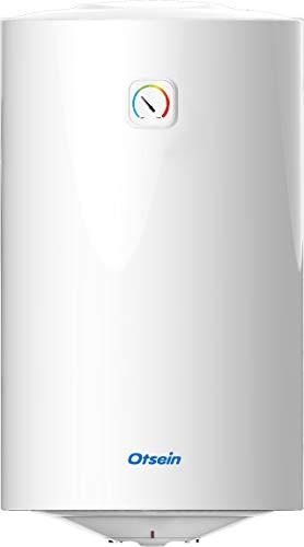 Otsein OHTC80 Termo eléctrico - Instalación Vertical - Capacidad: 80 Litros - Hogares 4 personas - Dimensiones Producto: 450 x 809 mm, 1500 W, Acero Inoxidable, Blanco