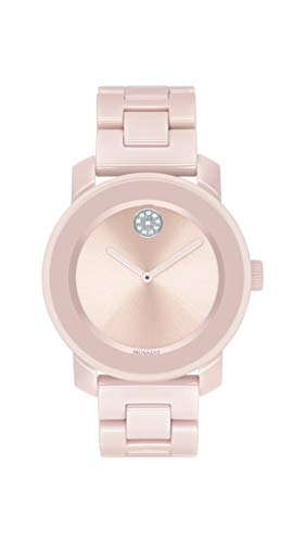 Movado Women's Bold Ceramic Watch with a Crystal-Set Dot, Pink/Silver (Model: 3600536)