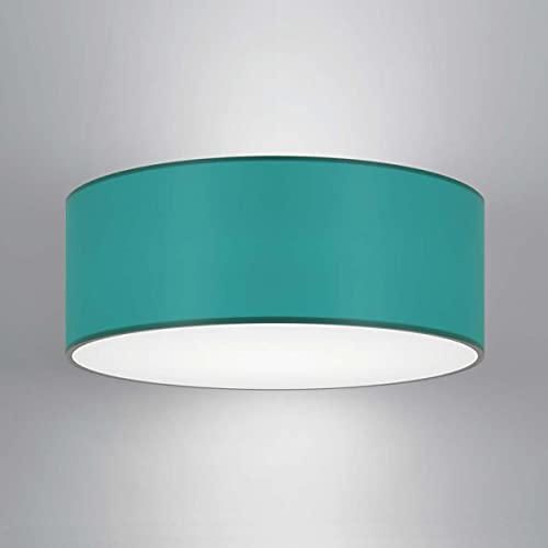 CGC Lucia Teal Fabric Lamp Shade Solid Opal White Bottom Diffuser Drum Pendant Table Lamp Bedroom Dining Room Lounge