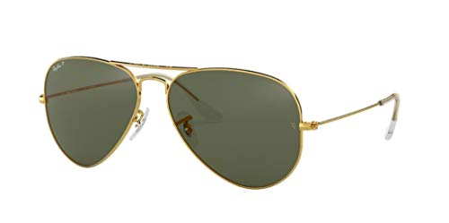 Ray-Ban RB3025 001/58 Unisex Aviator Sunglasses Polarized (Gold Frame / Green Polarized Lens 001/58, 62)
