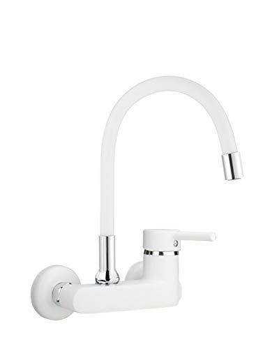 ATCO® Grifo de pared flexible EHM, color blanco/blanco