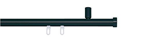 indeko CONSUL, Gardinenstange mit Innenlauf Ø 20mm auf Maß zur Deckenmontage, 1-Lauf, schwarz, Komplettset mit Zubehör