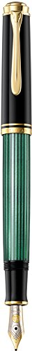 Pelikan Elegante pluma estilográfica de lujo linea Souveraen M400 - Rayas verdes / negras detalles bañados oro de 24 quilates - Plumín M de dos tonos de oro - Made in Germany 985812