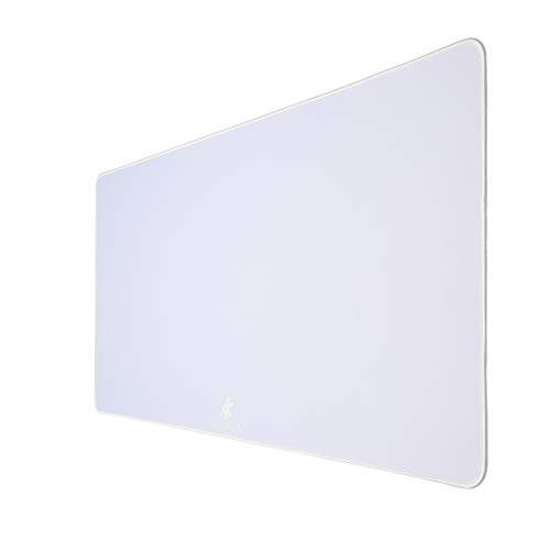 AnubisGX (39 Color/Size Options) Gaming Mouse Pad (XXL: 48'x24'), White Pad with Stealth White Stitching. Best Premium Waterproof Non RGB Computer Gaming XL Desk Pad Mat, Large Non-Slip Gamer Mousepad