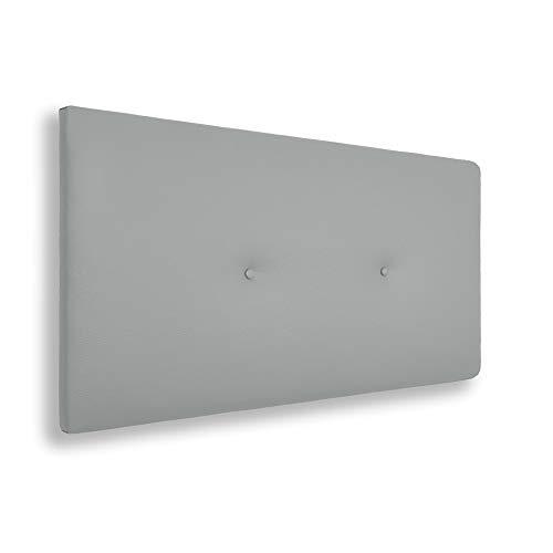 SILCAR HOME - Cabecero de Cama Tapizado en Polipiel con Hilera de Botones, Modelo Silvi (Gris, 160 cm) | Cabecero Acolchado | Cabezal Tapizado | Cabecero Original