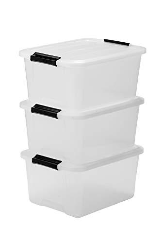 Iris Ohyama, Set - 3 boîtes de rangement empilables avec fermeture clic - Top Box - TB-15, plastique, transparent, 15 L, 39 x 29 x 18,6 cm