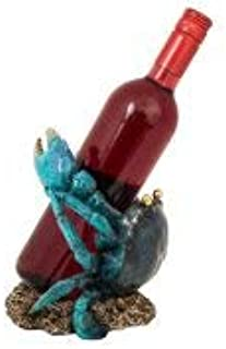 Nauti Blue Crab Wine Bottle Holder 7.5 Inches Tall Polyresin WW-444