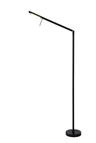 Lucide BERGAMO - vloerlamp met leeslamp - LED dim. - 1x6W 3000K - zwart