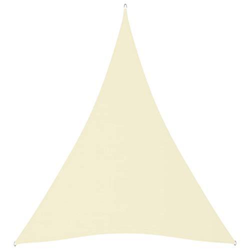 vidaXL Toldo Parasol Lona Protector Solar Sombra de Patio Jardín Terraza Balcón Parque Exterior de Vela Triangular de Tela Oxford Crema 5x6x6 m