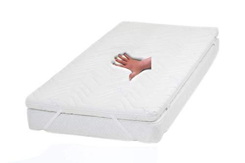 Gel / Gelschaum Matratzenauflage Topper Höhe 9 cm, 140 x 200 cm, Memory Schaum, mit Amicor pure Bezug, Auflage für Matratze soft / weich = Schlafen wie auf einem Wasserbett ohne seine Nachteile