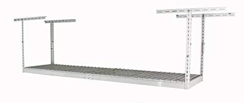 SafeRacks – 2x8 Overhead Garage Storage Rack - Height Adjustable Steel Overhead Storage Rack - 400 Pound Weight Capacity (White, 24