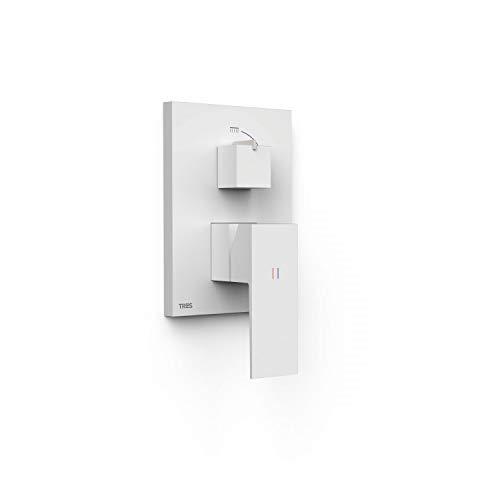 Grifo monomando empotrado de 2 vías Rapid-Box para ducha, gama Cuadro-Exclusive, con amortiguadores acústicos, maneta, 6 x 11,8 x 20,5 centímetros, acabado blanco mate (referencia: 10628001BM)