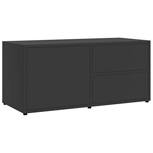 vidaXL TV Schrank mit 2 Schubladen 1 Fach Lowboard TV Möbel Sideboard Fernsehtisch Fernsehschrank HiFi-Schrank Grau 80x34x36cm Spanplatte