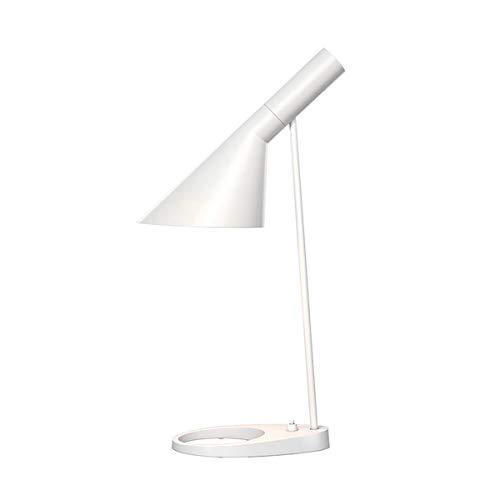 WeeLion Creative Nordic Minimalist Style LED-Tischlampe mit Lesefunktion - Legierungsmaterial, Wohnzimmerlampe/Büro/Schlafzimmer/Nachttischlampe (Weiß/Schwarz),White